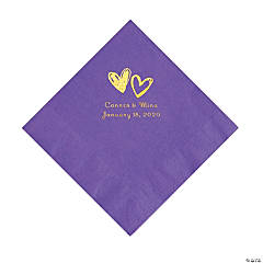 Amethyst Hearts Personalized Napkins with Gold Foil - Luncheon