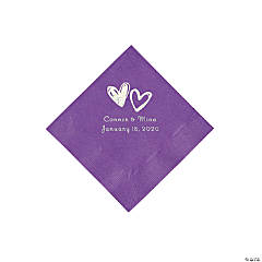Amethyst Hearts Personalized Napkins with Silver Foil - Beverage