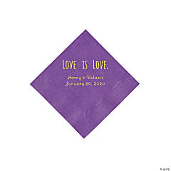Amethyst Love is Love Personalized Napkins with Gold Foil - Beverage