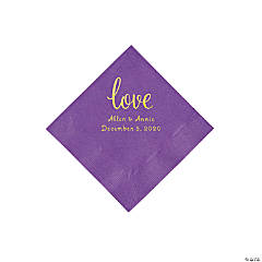 Amethyst Love Script Personalized Napkins with Gold Foil - Beverage