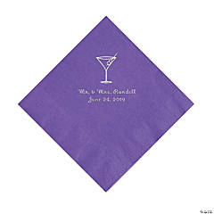 Amethyst Martini Glass Personalized Napkins with Silver Foil - Luncheon