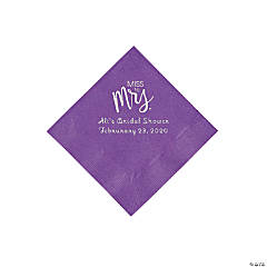 Amethyst Miss to Mrs. Personalized Napkins with Silver Foil - Beverage