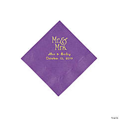 Amethyst Mr. & Mrs. Personalized Napkins with Gold Foil - Beverage