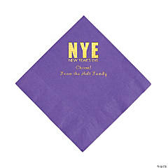 Amethyst New Year's Eve Personalized Napkins with Gold Foil - Luncheon