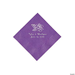 Amethyst Rose Personalized Napkins with Silver Foil - Beverage