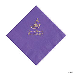 Amethyst Sailboat Personalized Napkins with Gold Foil - Luncheon