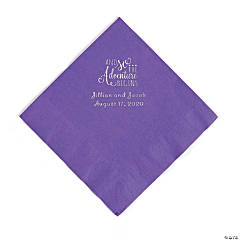 Amethyst The Adventure Begins Personalized Napkins with Silver Foil - Luncheon