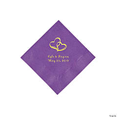 Amethyst Two Hearts Personalized Napkins with Gold Foil - Beverage