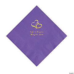 Amethyst Two Hearts Personalized Napkins with Gold Foil - Luncheon