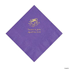 Amethyst Wedding Bells Personalized Napkins with Gold Foil - Luncheon