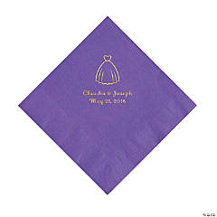 Amethyst Wedding Dress Personalized Napkins with Gold Foil - Luncheon