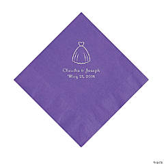 Amethyst Wedding Dress Personalized Napkins with Silver Foil - Luncheon