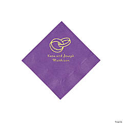 Amethyst Wedding Ring Personalized Napkins with Gold Foil - Beverage
