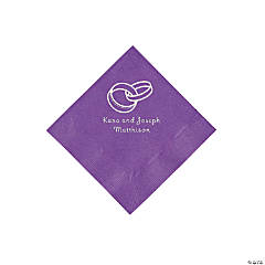 Amethyst Wedding Ring Personalized Napkins with Silver Foil - Beverage