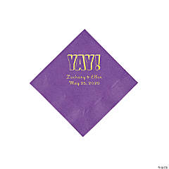 Amethyst Yay Personalized Napkins with Gold Foil - Beverage