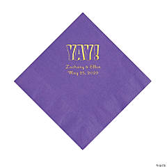 Amethyst Yay Personalized Napkins with Gold Foil - Luncheon