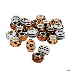 Animal Print Large Hole Beads - 14mm