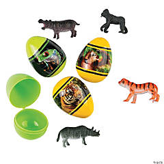 Animal Toy-Filled Plastic Easter Eggs - 12 Pc.