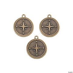 Antique Goldtone Compass Charms