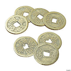 Antique Goldtone Metal Chinese Coins