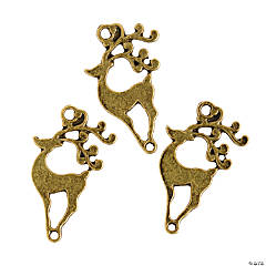 Antique Goldtone Reindeer Charms