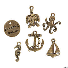Antique Goldtone Sea Life Charms