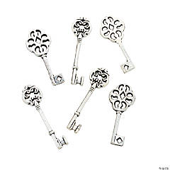 Antique Silvertone Ornate Key Charms