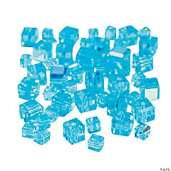 Aquamarine Cube AB Cut Crystal Beads - 4mm-6mm
