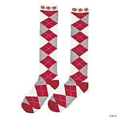 Argyle Nordic Socks with Snowflakes