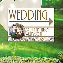 Art Deco Wedding Custom Photo Yard Sign