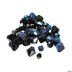 Aurora Borealis Jet Black Cut Glass Crystal Bicone Beads - 4mm-6mm
