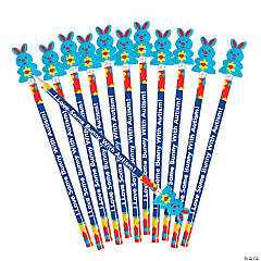 Autism Awareness Pencils with Bunny Toppers
