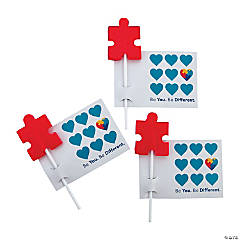 Autism Awareness Suckers with Cards