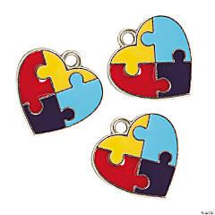 Autism Heart Enamel Charms