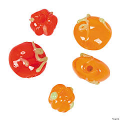 Autumn Pumpkin Lampwork Glass Beads - 8mm-13mm