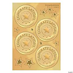 Award Seal, Congratulations (Gold) - 32 per pack, 6 packs
