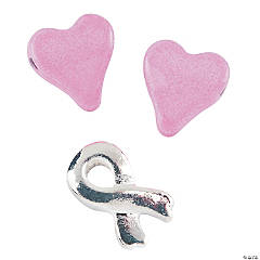 Awareness Ribbon & Pink Heart Spacer Beads