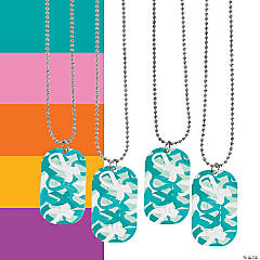 Awareness Ribbon Camouflage Dog Tag Necklaces
