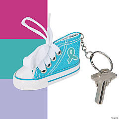 Awareness Ribbon Tennis Shoe Key Chains