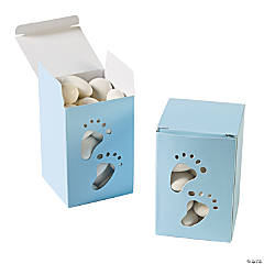 Baby Boy Footprint Favor Boxes
