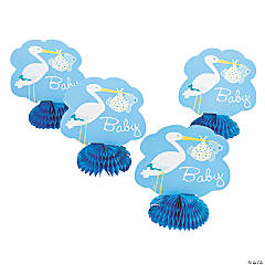 Baby Boy Stork Honeycomb Decorations