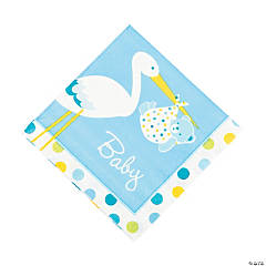 Baby Boy Stork Luncheon Napkins