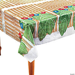 Bamboo & Palm Leaf Plastic Tablecloth