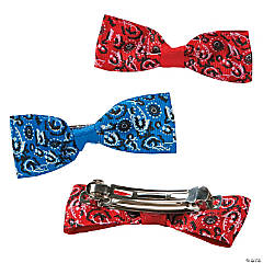 Bandana Print Hair Bow Clips