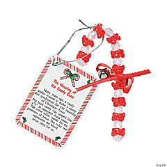 "Beaded ""The Meaning of the Candy Cane"" Christmas Ornament Craft Kit"
