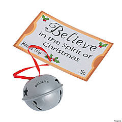 Believe Jingle Bell Christmas Ornaments on Card