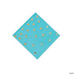 Bermuda Blue & Gold Foil Polka Dot Beverage Paper Napkins