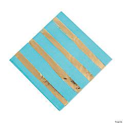 Bermuda Blue & Gold Foil Striped Luncheon Paper Napkins