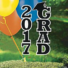 Black 2017 Grad Yard Sign