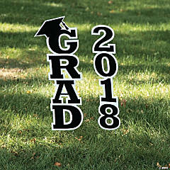 Black 2018 Grad Yard Sign